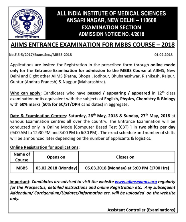 aiims mbbs 2018 notice