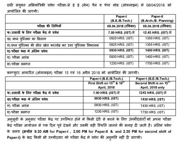 jee main exam schedule