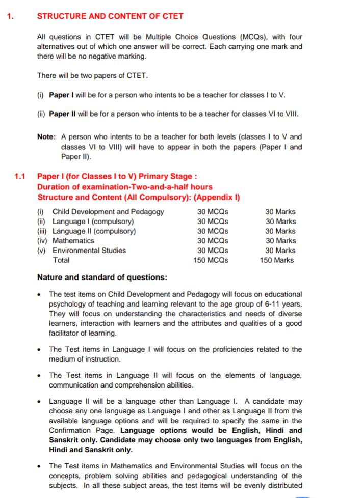 Ctet paper pattern 1