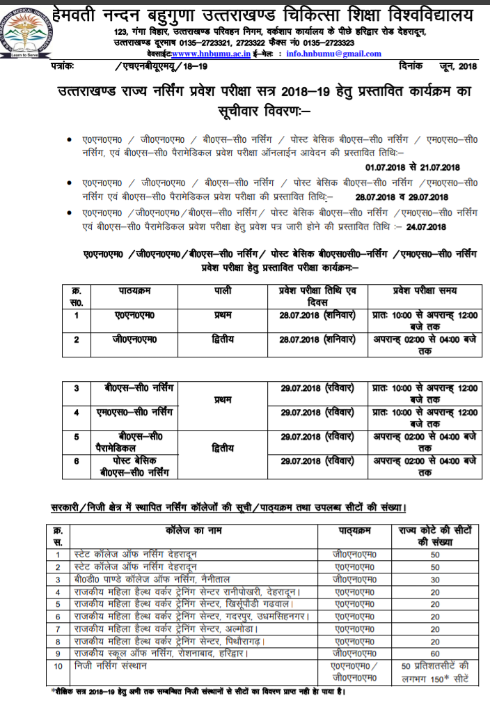 Uttarakhand nursing notification 2018