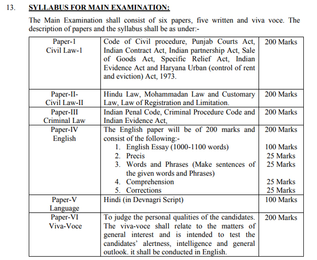 hpsc pcsj main exam pattern