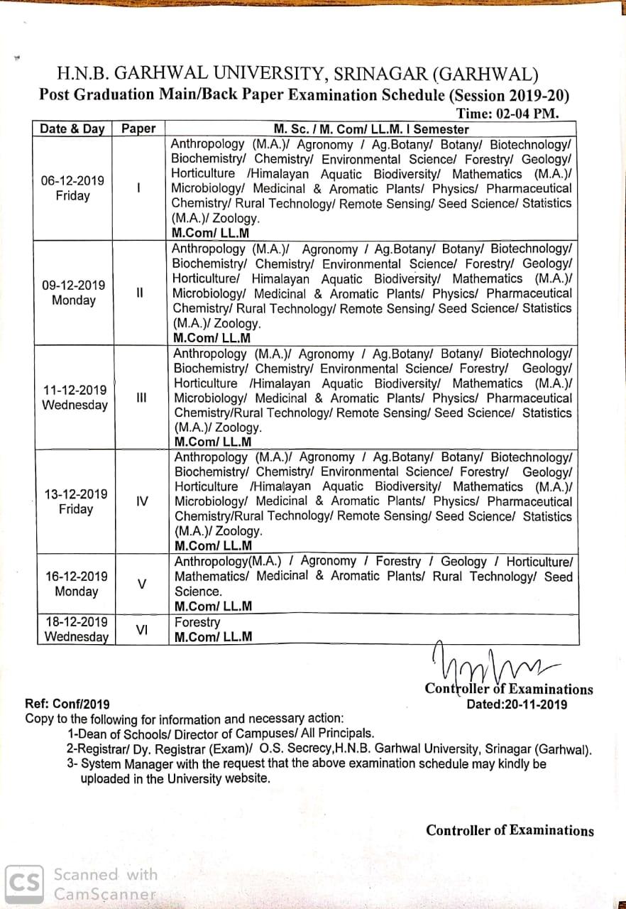 Garhwal university exam datesheet