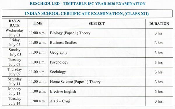 isc 12th exam datesheet