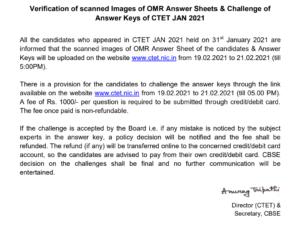 Ctet answer key notice