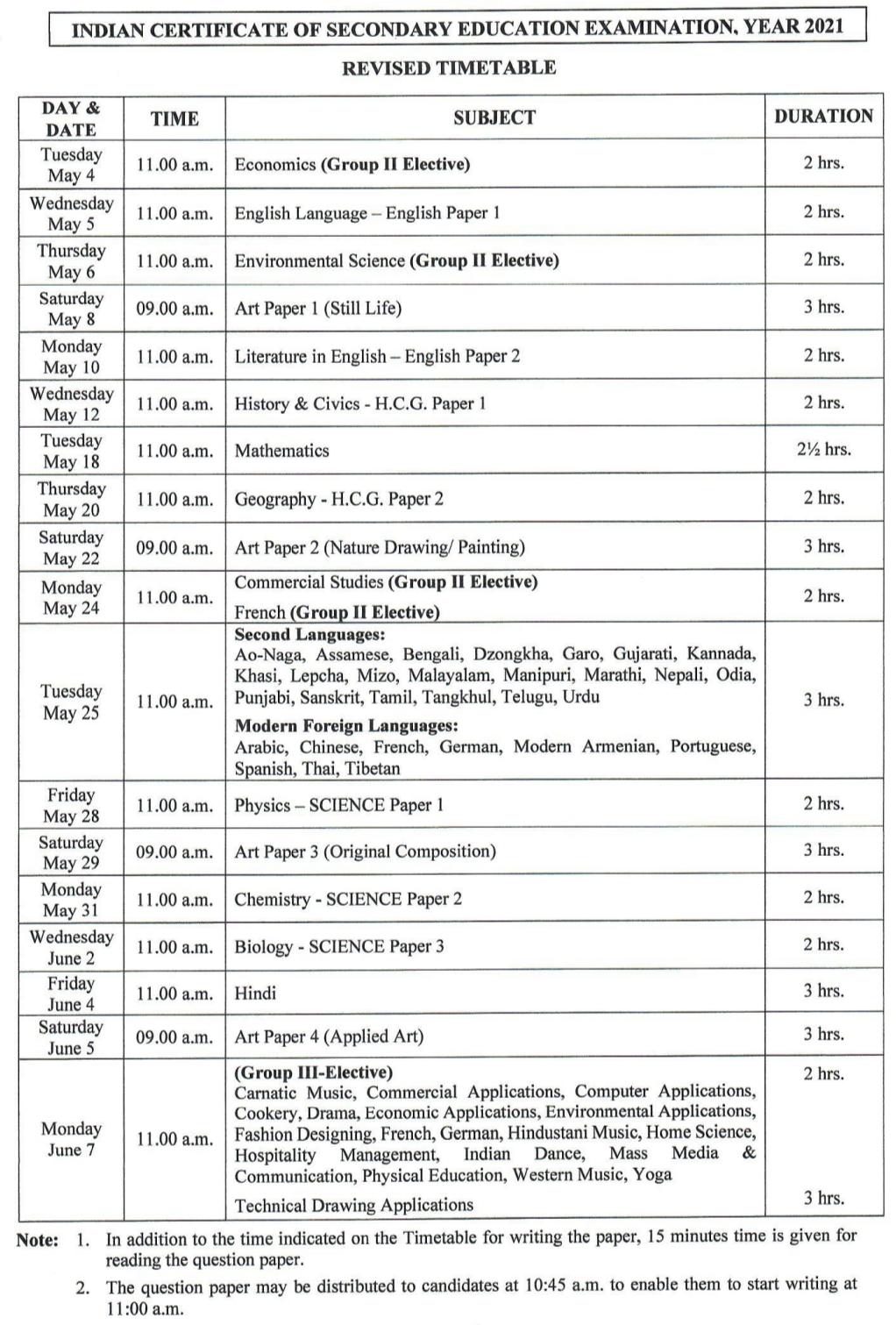 ICSE 10 revised datesheet