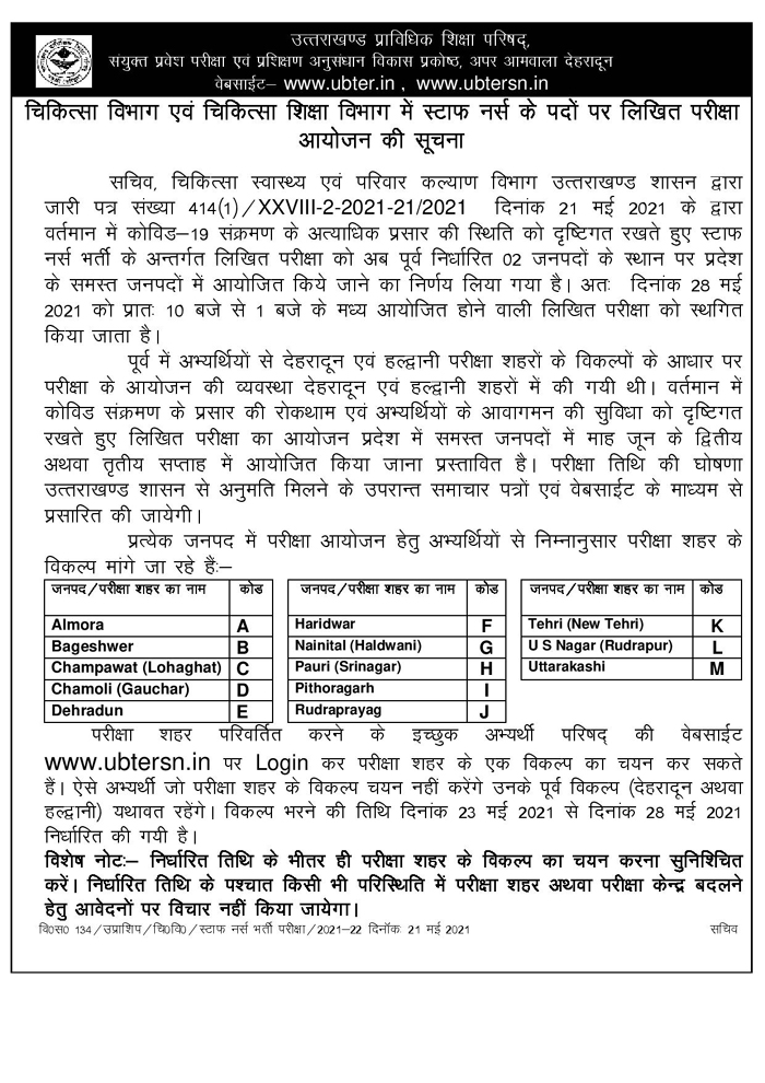 Uttarakhand, UBTER Staff Nurse Bharti, nursing bharti exam, uttarakhand nurse recruitment, ubter nurse exam admit card