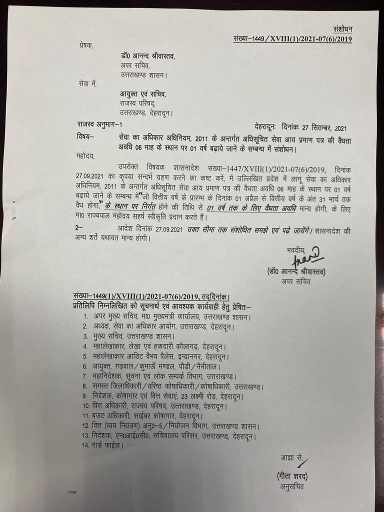 Uttarakhand income certificate order